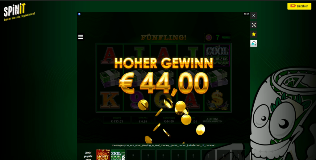 Online Casino Test - Cool Buck Slot im Spinit Casino - junio 14, 2020
